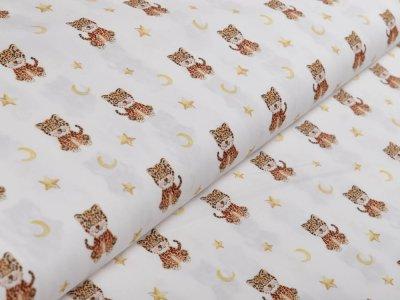 Webware Popeline Baumwolle Digitaldruck - Baby Tiger - weiß