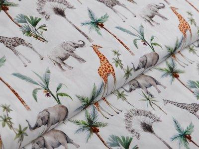 Webware Popeline Baumwolle Digitaldruck - Giraffen und Elefanten - weiß