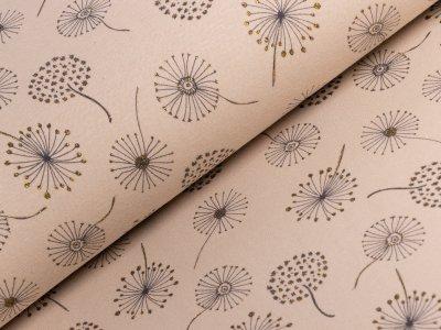 Alpenfleece - verschiedene Pusteblumen mit Glitzer - hellbraun