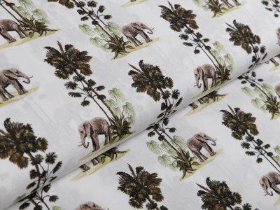 Webware Popeline Baumwolle Digitaldruck - Elefanten und Bäume - weiß