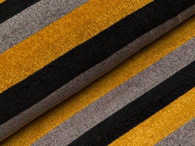 Chenille Strickstoff - breite Streifen - schwarz/grau/gelb