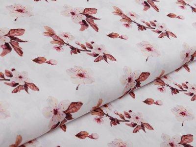 Webware Popeline Baumwolle Digitaldruck - wilde Blumen - weiß