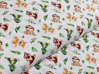 Webware Popeline Baumwolle Digitaldruck - freche Tierchen - weiß