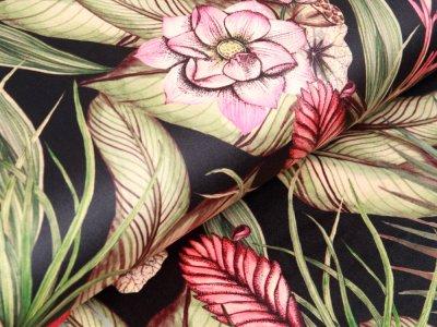 Velvet Digitaldruck - Orchideen und Blätter - schwarz