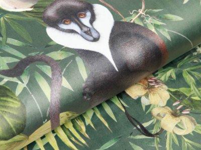 Velvet Digitaldruck- Affen und Schmetterlinge auf Blumen - waldgrün