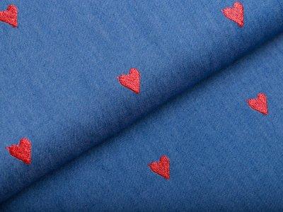 Leichter jeansstoff mit Stickerei - Herzen - jeansblau