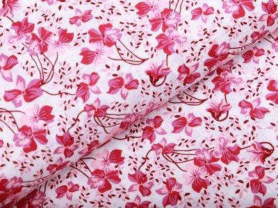Webware Baumwolle Popeline - Blumen - weiß/rosa