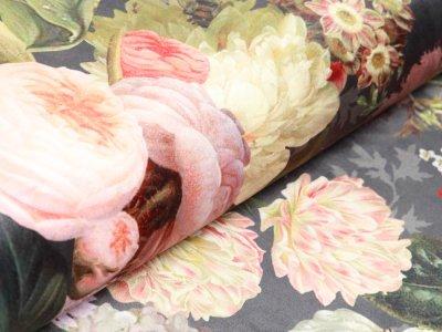 Velvet Digitaldruck - gemischte Blumen - grau
