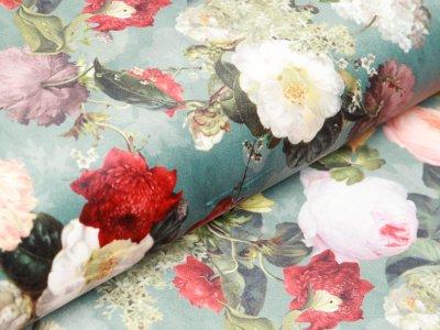 Velvet Digitaldruck - Blumenwiese - grünblau