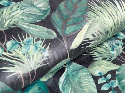 Velvet Digitaldruck - Palmenblätter - anthrazit