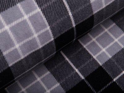 Polarfleece mit Fellabseite - Karos - schwarz/grau