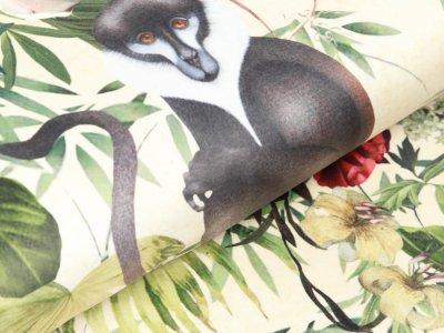 Velvet Digitaldruck - Affen und Schmetterlinge auf Blumen - pastellgelb