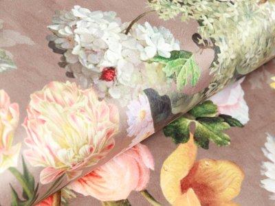 Velvet Digitaldruck - gemischte Blumen - altbraun