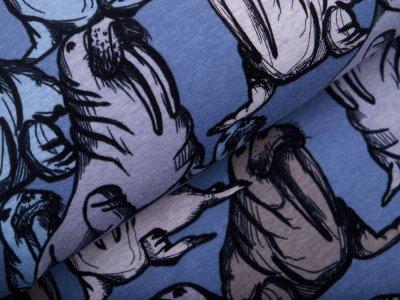 Alpenfleece - Walrosse - meliert blau