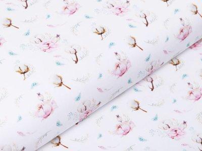 Webware Popeline Baumwolle Digitaldruck - Blumen und Baumwollknospen - weiß