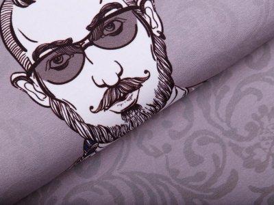 Jersey Trendy Guy PANEL ca. 66 cm x 150 cm - cooler Typ auf Barock-Muster - grau