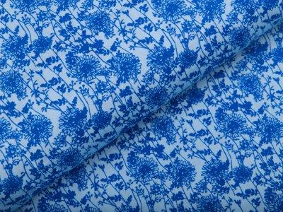 Webware Popeline Baumwolle - Blumenranken - helles blau
