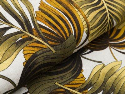 Jersey  Viskose - große Blätter - creme