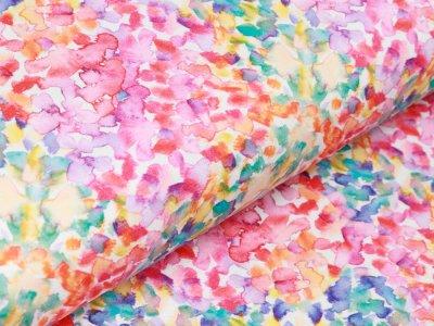 Jersey Digitaldruck - bunter Farbtupfer - wollweiß