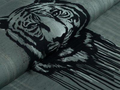 Jersey PANEL 60 cm x 160 cm - Urban Jungle by Thorsten Berger - Wild Tiger - dunkelgrün
