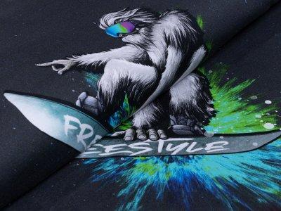 Sweat French Terry PANEL 75 cm x 155 cm - Yeti Crossing by Thorsten Berger - Yeti mit Farbexplosion - anthrazit