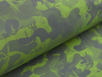 Leichter reflektierender Jackenstoff - Camouflage - grau/lime