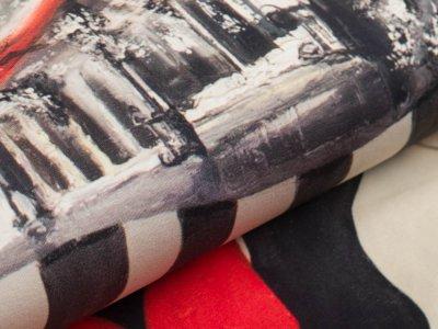 Jersey Digitaldruck Stenzo PANEL ca. 150 x 150 cm - Frau und Häuser - beige/rot