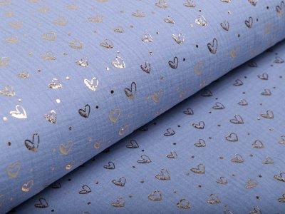 Musselin Baumwolle Hydrofiel Double Gauze mit Foliendruck - Herzen - blau/goldfarben