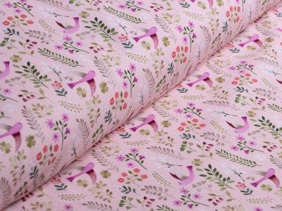 Jersey Swafing - Little Spring - florale Vögel - rosa