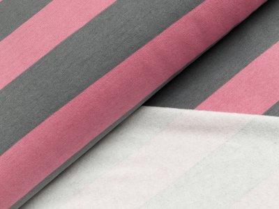 Leicht angerauter Sweat - breite Streifen - grau/rosa