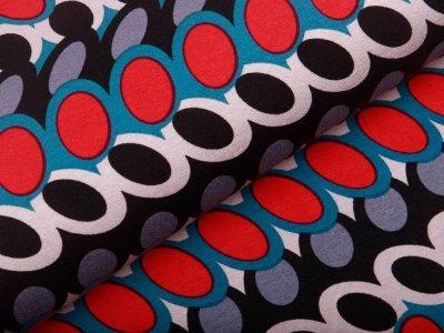 Jersey Viskose - Retro-Muster - schwarz/petrol