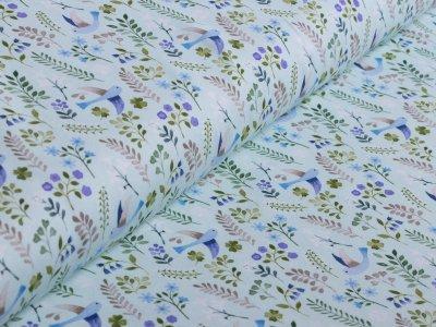 Jersey Swafing - Little Spring - florale Vögel - mint