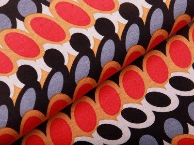 Jersey Viskose - Retro-Muster - schwarz/ocker