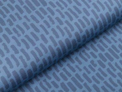 Sweat French Terry Digitaldruck Stenzo - dicke Striche - altblau