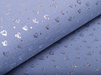Musselin Baumwolle Hydrofiel Double Gauze mit Foliendruck - Herzen - blau/silberfarben