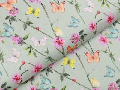 Webware Popeline Baumwolle Digitaldruck - Blumen und Schmetterlinge - mint