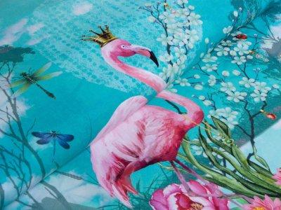 Jersey Digitaldruck Stenzo 3er-PANEL ca. 75 cm x 150 cm - Flamingo auf dem See - türkis