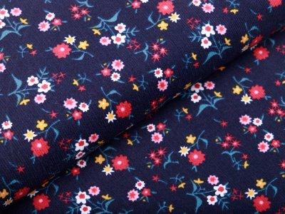 Feincord - kleine Blumen - nachtblau
