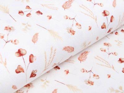 Jersey-Feinstrick Snoozy Digitaldruck Pointoille Lochmuster Wieber - Aquarelle Wildblumen - wollweiß