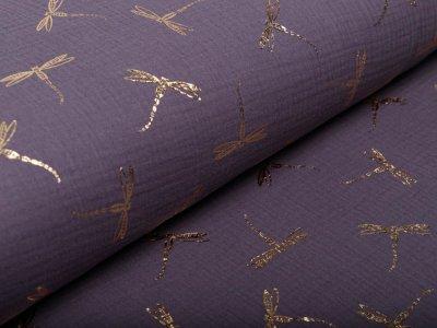 Musselin Baumwolle Hydrofiel Double Gauze mit Foliendruck - Libellen - grau/goldfarben