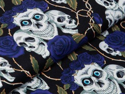 Webware Baumwolle - geblümte Skulls - schwarz/blau