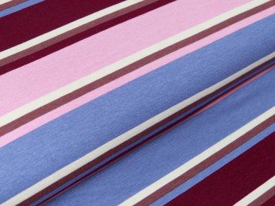 Jersey Viskose - schmale und breite Streifen - helles rosa