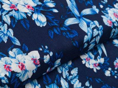 Webware Viskose - Blüten - dunkles blau