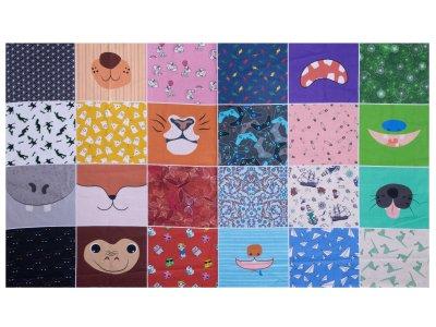 Webware Baumwolle Digitaldruck PANEL ca. 60 x 105 cm für Kinder-Behelfsmasken - 24 verschiedene Motive - bunt