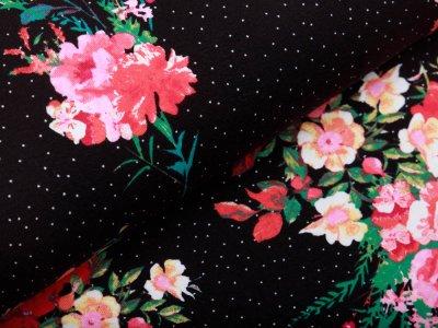 Jersey - Blumen auf Punkte - schwarz