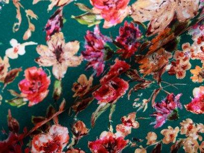 Jersey - gemalte Blumen - petrol
