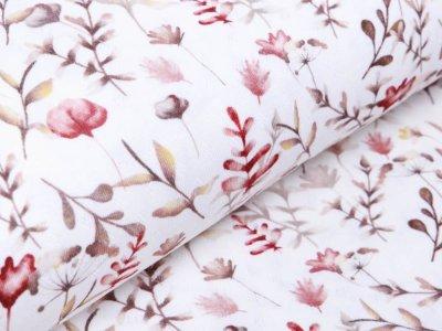 Jersey-Feinstrick Snoozy Digitaldruck Pointoille Lochmuster Wieber - Aquarelle Blumen - wollweiß