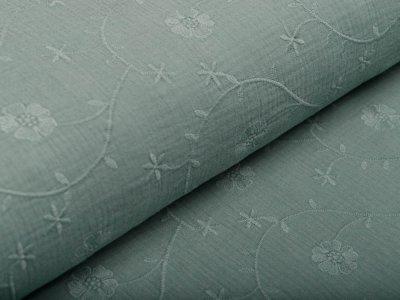 Musselin Baumwolle Hydrofiel Double Gauze - gestickte Kleeblätter - altmint