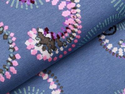 Jersey Viskose - Mandala Muster - taubenblau