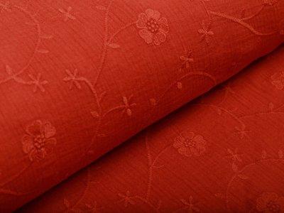 Musselin Baumwolle Hydrofiel Double Gauze - gestickte Kleeblätter - terrakotta